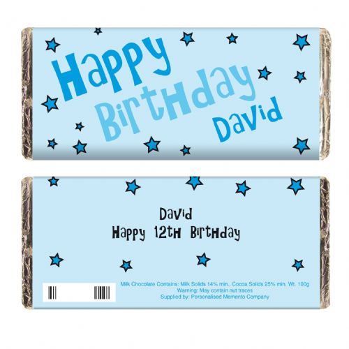 Personalised Blue Happy Birthday Stars Chocolate Bar